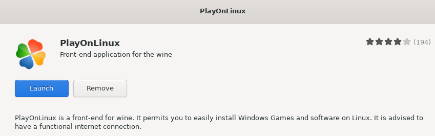 Launch PlayOnLinux application