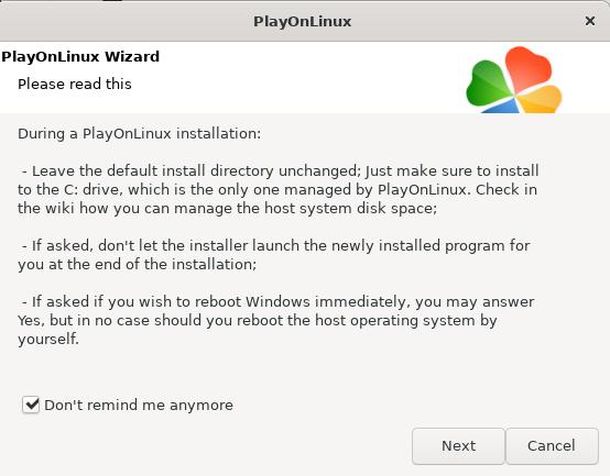PlayOnLinux installation wizard