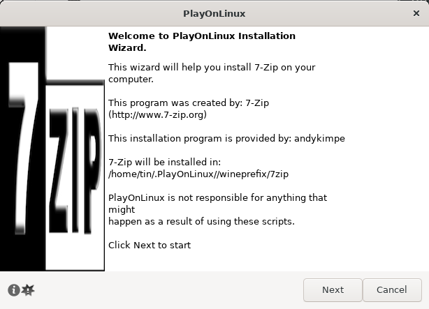 Install 7zip through PlayOnLinux