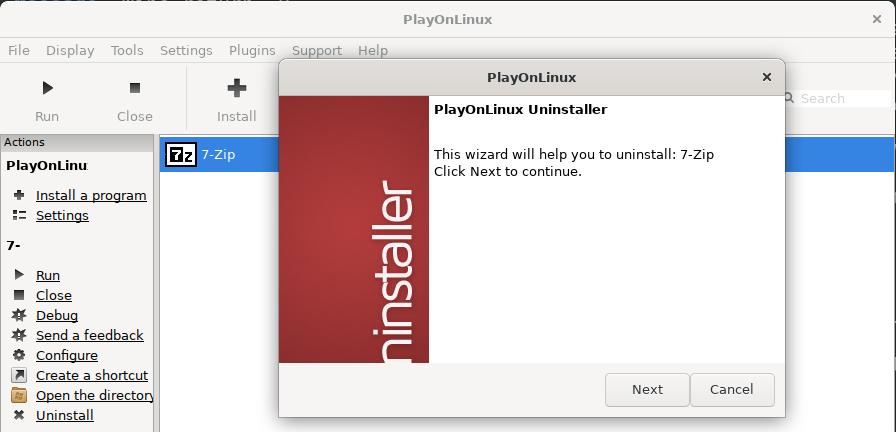 PlayOnLinux uninstaller
