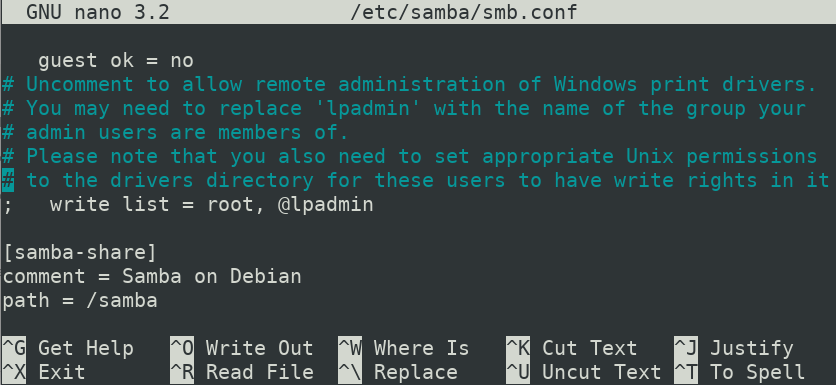 Edit Samba configuration file
