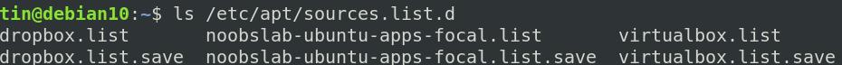 List Debian repository include files