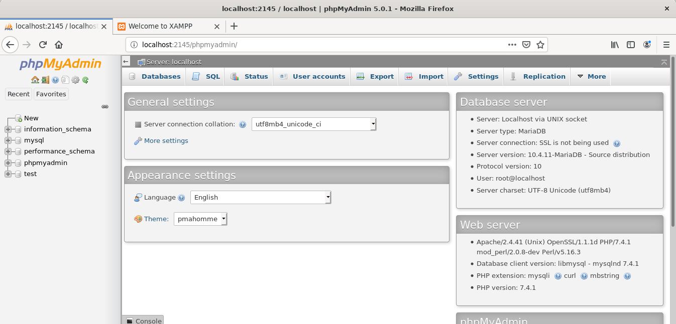 PHPMyAdmin installed by XAMPP