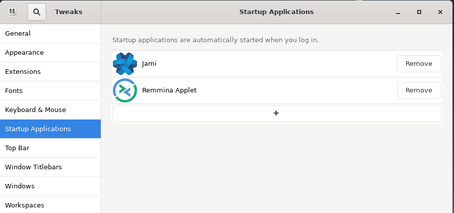 Remove startup applications