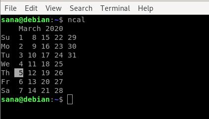 Debian ncal command