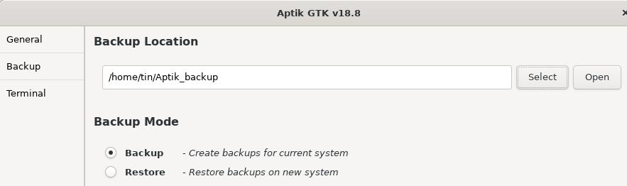 Choose backup directory