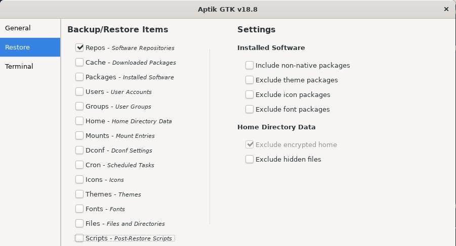 Restore apps with aptik