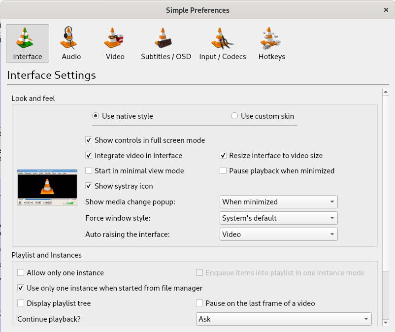 Interface Preferences