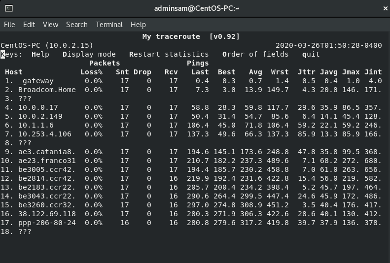 Format traceroute result