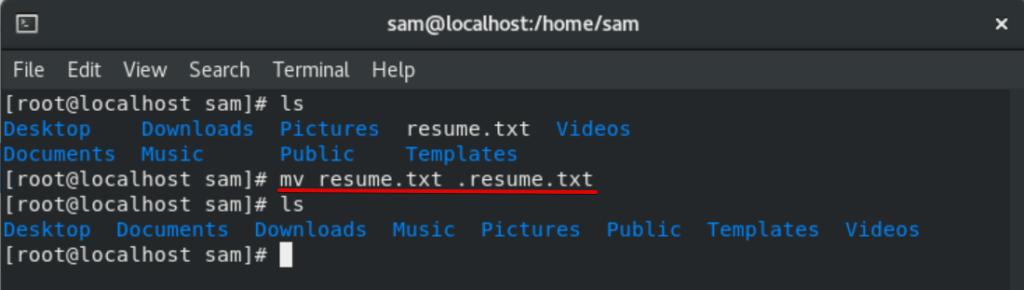 Hide existing file