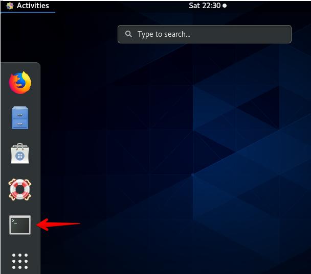 Click on terminal icon