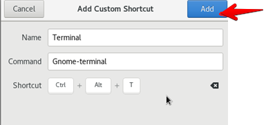 Create shortcut to open the terminal