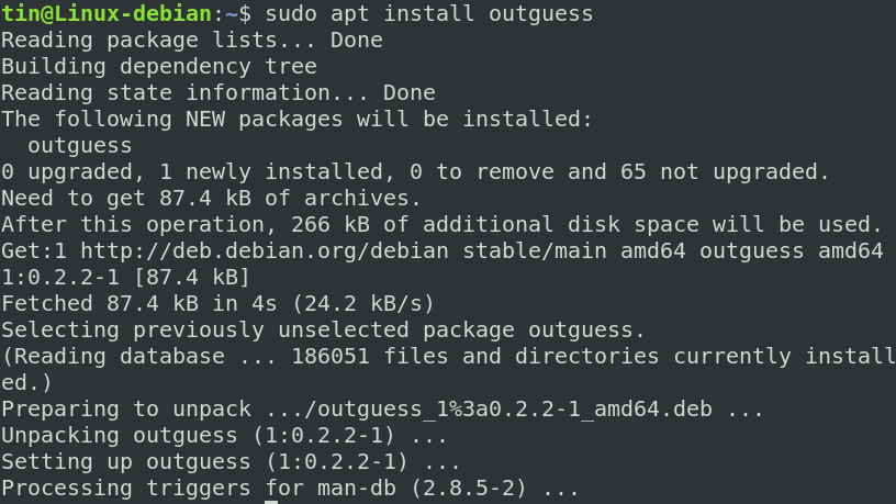 Install outguess