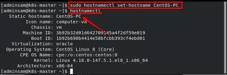 Change hostname using hostnamectl command