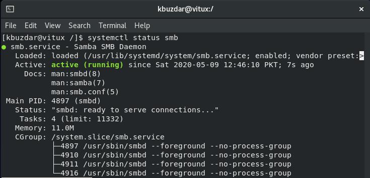 Check status of Samba service