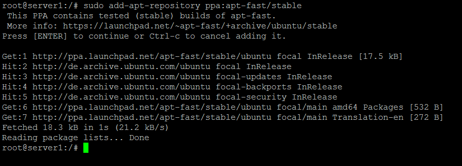 Add apt-fast PPA