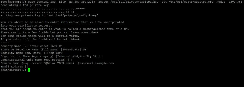 Generate SSL cert