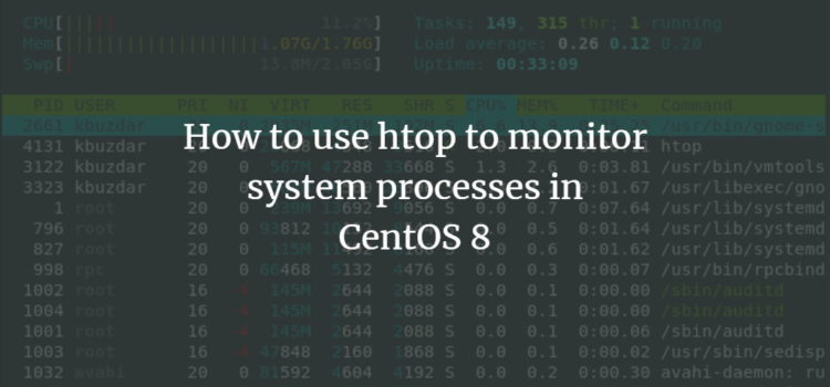 How to use htop to monitor system processes in CentOS 8