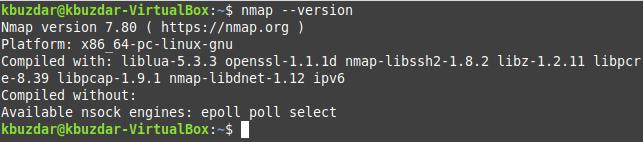 Get version details of Nmap command