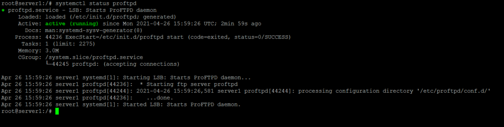 ProFTPD Service Status