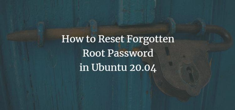 Ubuntu Root Password reset