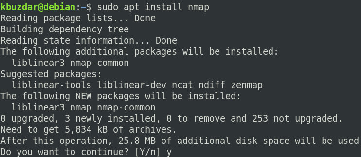 Use Nmap to search for open ports