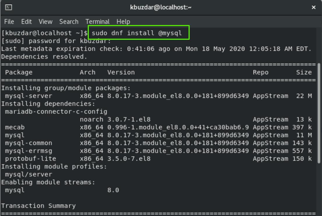Install mysql with dns