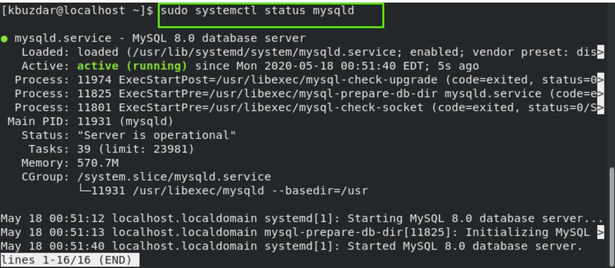 Check MySQL status