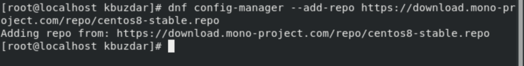Add Mono Repository on CentOS 8