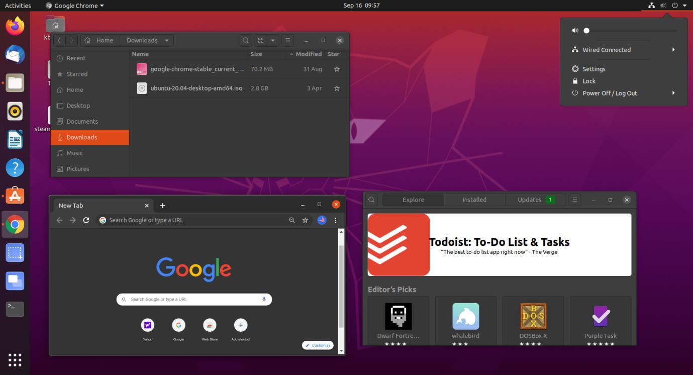 The entire desktop has now in dark mode