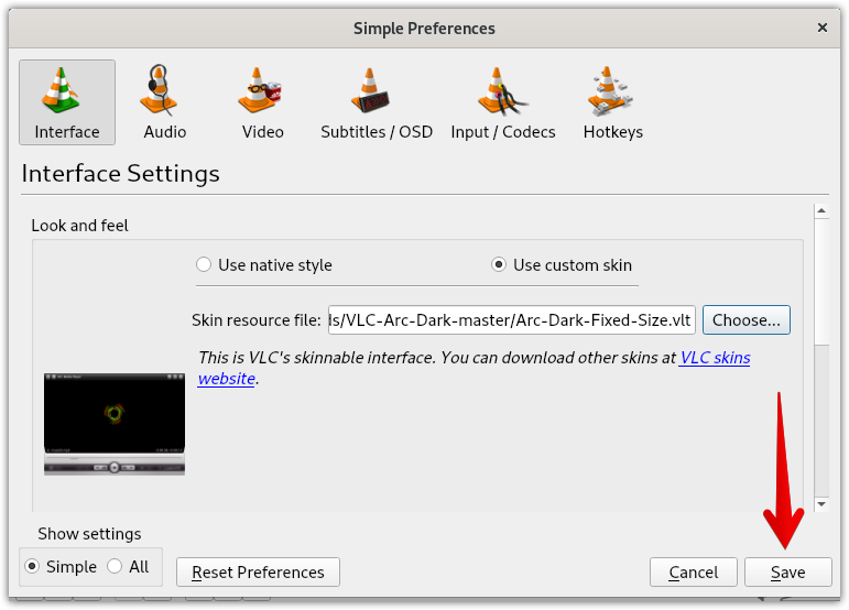 Interface settings