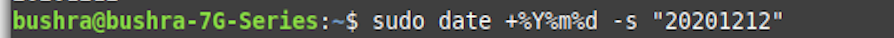 Set Date in Ubuntu