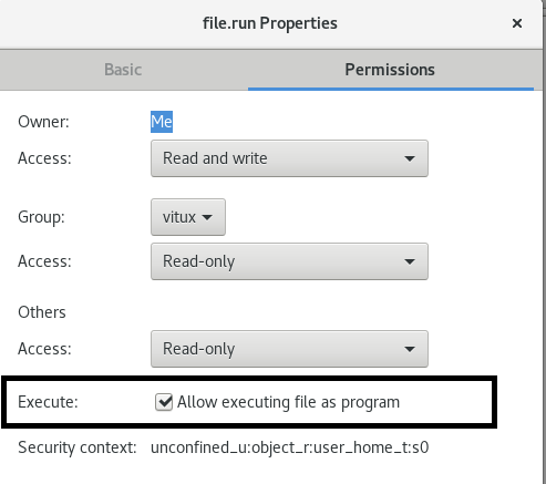 Set exec permissions
