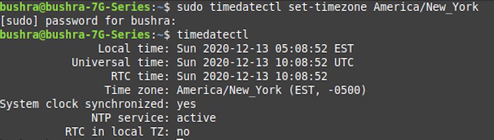 Set time zone in Ubuntu