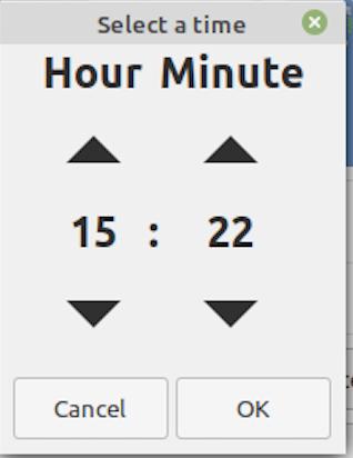 Set time using GUI
