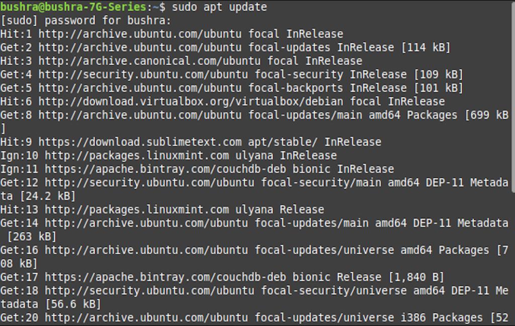 Update Ubuntu package lists