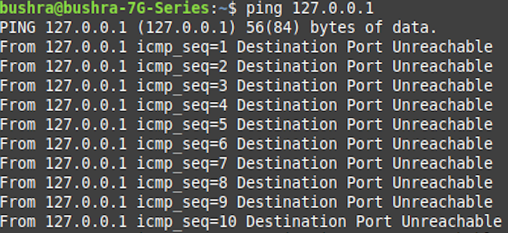 Ping port unreachable