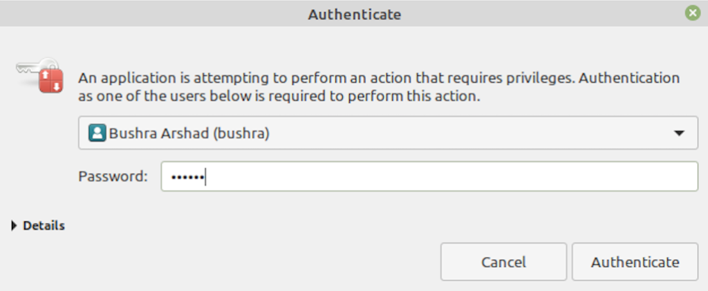 Authenticate as admin