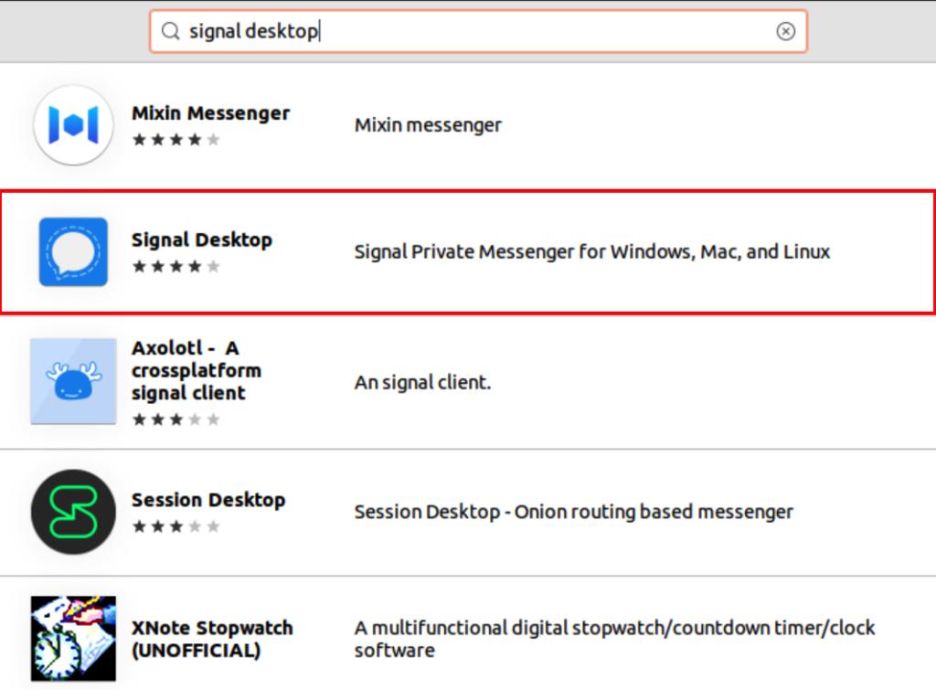 Select Signal Desktop app