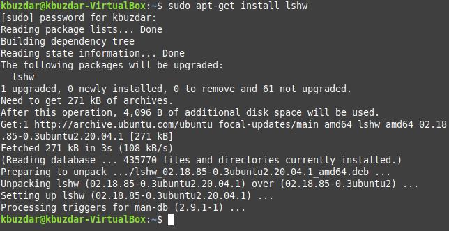 install lshw command