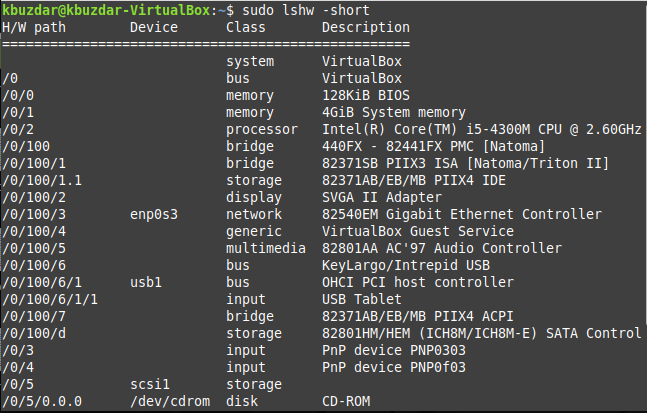 Get hardware summary using lshw command