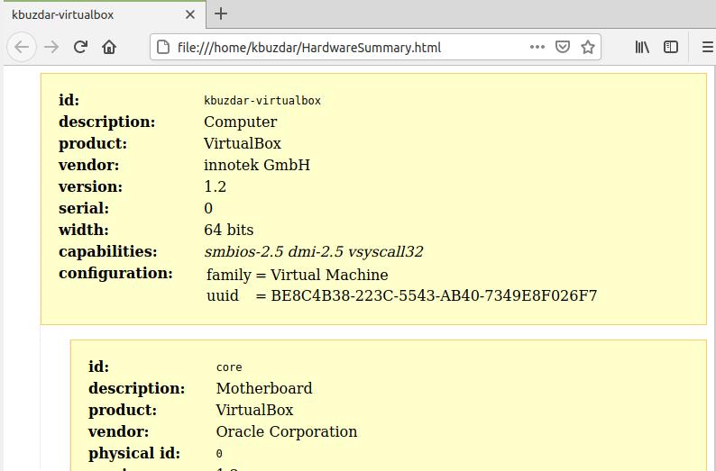 hardware summary as HTML file