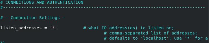 Configure listen interface in PostgreSQL