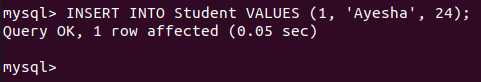 Insert data into a mysql database table