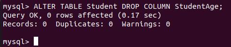 Database column removed