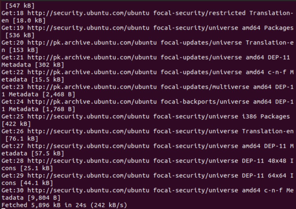 Downloading package lists from Ubuntu repository servers