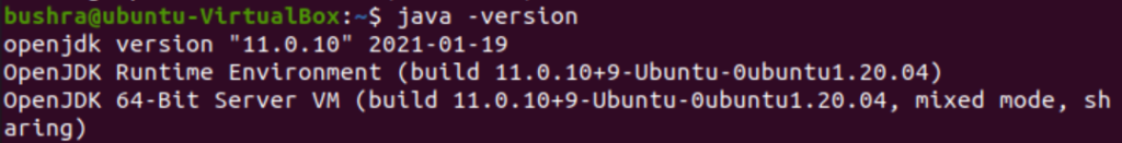 JDK 11 installed successfully