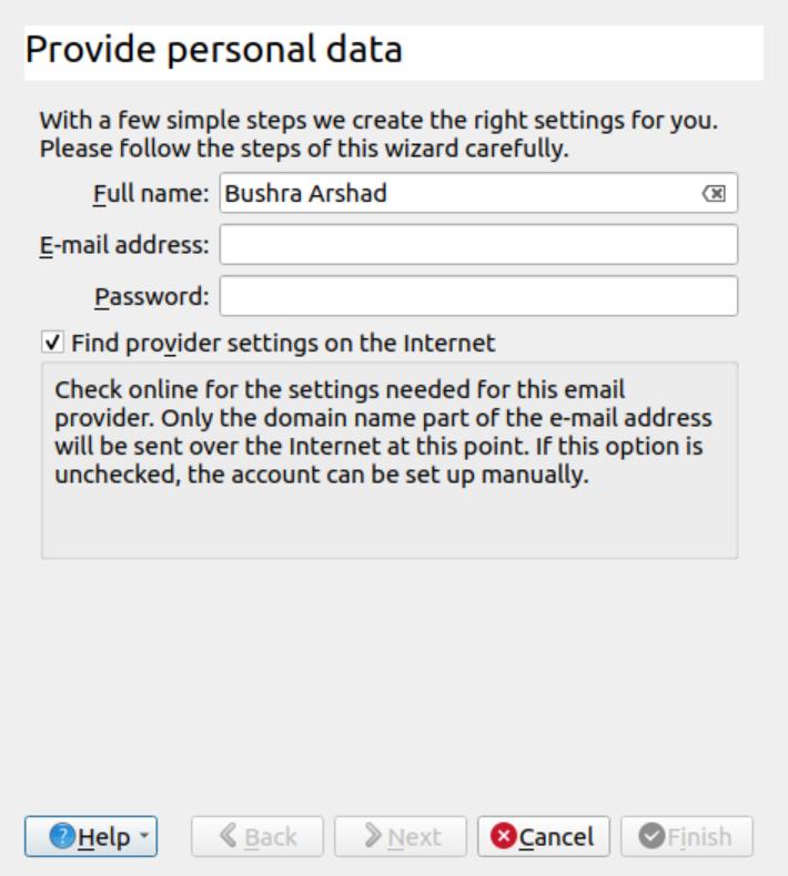 Enter email address details