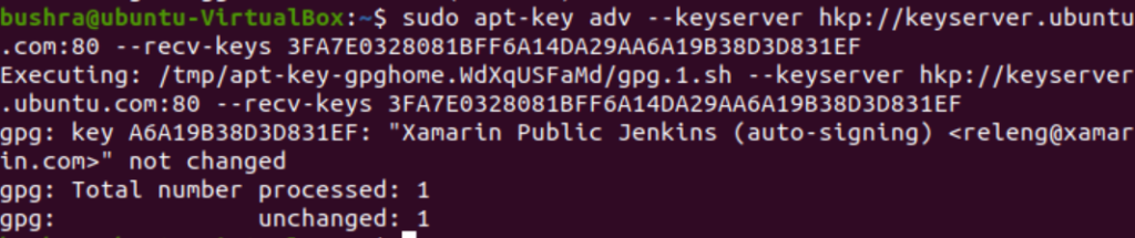 Mono GPG Key imported successfully