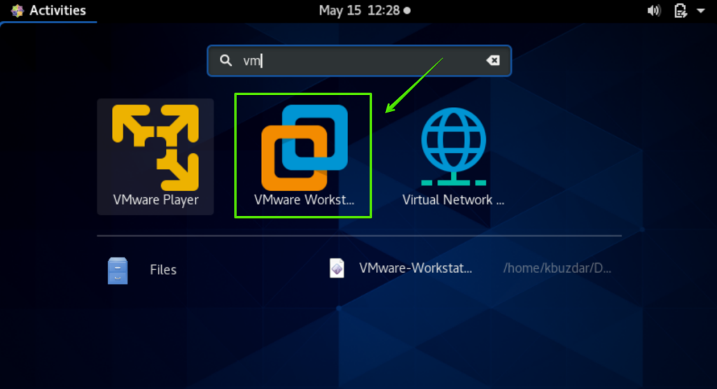 launch VMWare Workstation